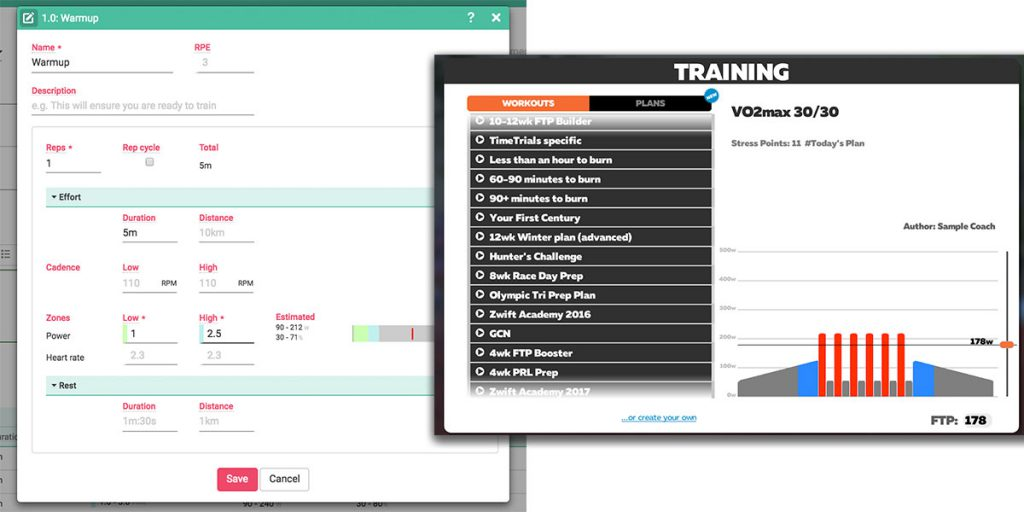 Workout builder with Zwift