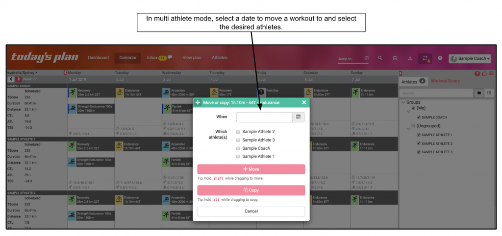 Move activity/workout by date